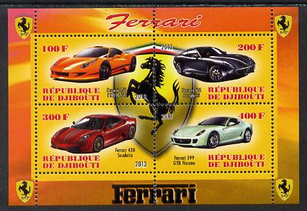 Djibouti 2013 Ferrari Cars #1 perf sheetlet containing 4 values unmounted mint