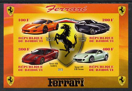 Djibouti 2013 Ferrari Cars #1 imperf sheetlet containing 4 values unmounted mint
