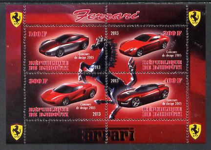 Djibouti 2013 Ferrari Cars #2 perf sheetlet containing 4 values unmounted mint