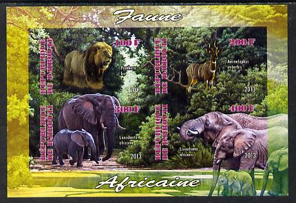 Djibouti 2013 Animals of Africa #2 imperf sheetlet containing 4 values unmounted mint