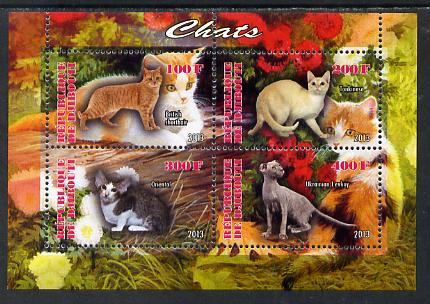 Djibouti 2013 Domestic Cats #1 perf sheetlet containing 4 values unmounted mint