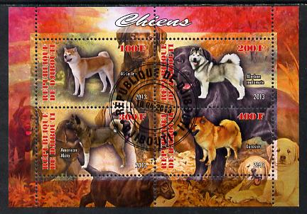 Djibouti 2013 Dogs #1 perf sheetlet containing 4 values cto used