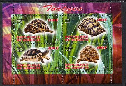 Djibouti 2013 Tortoises perf sheetlet containing 4 values unmounted mint