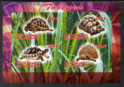 Djibouti 2013 Tortoises imperf sheetlet containing 4 values unmounted mint, stamps on animals, stamps on reptiles, stamps on tortoise