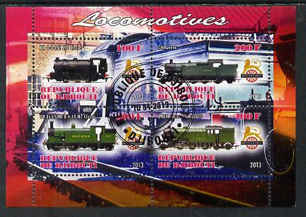 Djibouti 2013 British Steam Locomotives #1 perf sheetlet containing 4 values cto used