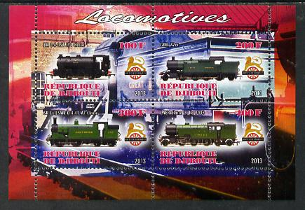 Djibouti 2013 British Steam Locomotives #1 perf sheetlet containing 4 values unmounted mint