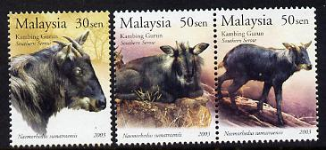 Malaysia 2003 Southern Serow perf set of 3 unmounted mint SG 1113-15