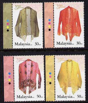 Malaysia 2002 The Kebaya Nyonya (traditional blouse) perf set of 4 unmounted mint SG 1100-03