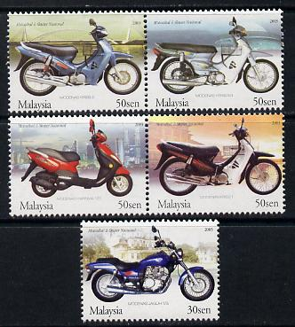 Malaysia 2003 Malaysian Made Motorcycles perf set of 5 unmounted mint SG 1157-61