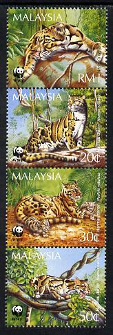 Malaysia 1995 Endangered Species - Clouded Leopard perf strip of 4 unmounted mint SG 559-62