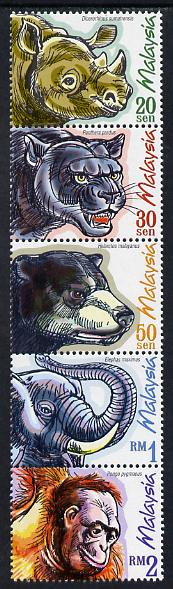 Malaysia 1999 Protected Mammals perf strip of 5 unmounted mint SG 731-9