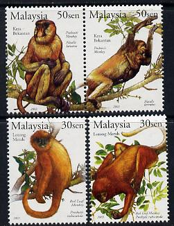 Malaysia 2003 Stamp Week - Primates of Malaysia perf set of 4 unmounted mint SG 1177-80