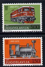 Yugoslavia 1972 International Railway Union set of 2 unmounted mint, SG 1526-27