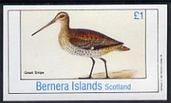 Bernera 1982 Great Snipe imperf souvenir sheet (�1 value) unmounted mint