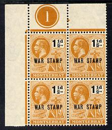 Montserrat 1919 KG5  War Stamp 1.5d black & orange NW corner block of 4 with plate number 1 unmounted mint, SG 62 few split perfs