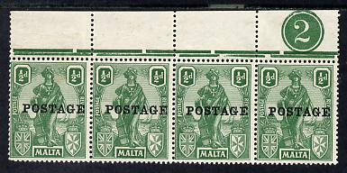 Malta 1926 Postage overprint on 1/2d green top marginal strip of 4 with plate number 2 unmounted mint, SG 144