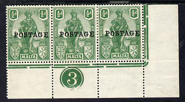 Malta 1926 Postage overprint on 1/2d green SE corner strip of 3 with plate number 3 mounted mint, SG 144