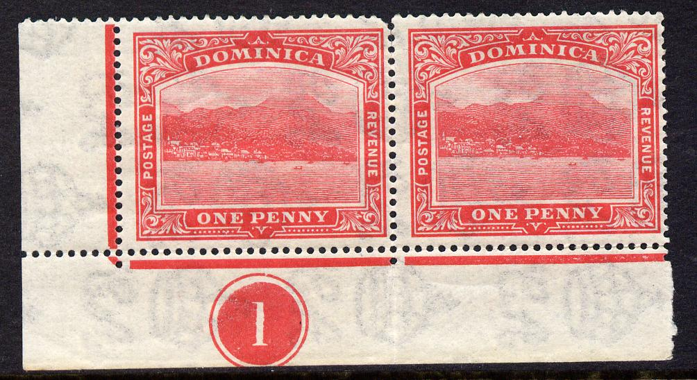 Dominica 1921-22 Roseau Script CA 1d carmine-red SW corner pair with plate no.1 mounted mint, SG 63