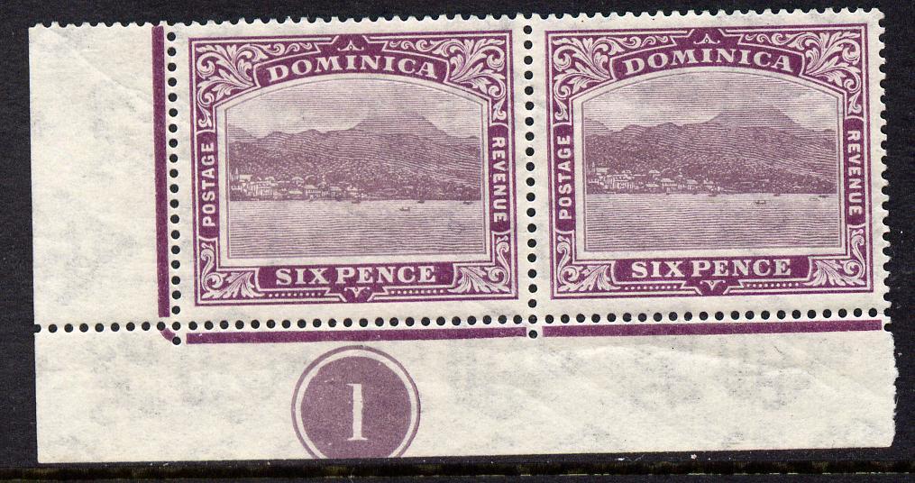 Dominica 1921-22 Roseau Script CA 6d purple SW corner pair with plate no.1 mounted mint, SG 67