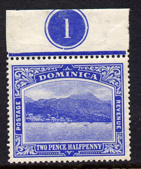 Dominica 1908-20 Roseau MCA 2.5d bright blue top marginal single with plate no.1 unmounted mint, SG 50b