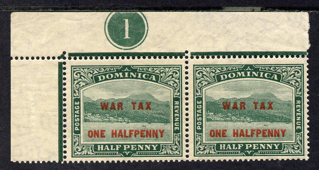Dominica 1916 KG5 War Stamp 1/2d on 1/2d deep green NW corner pair with plate no.1 unmounted mint, SG 55