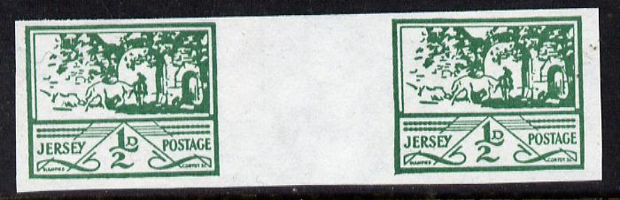 Jersey 1943-44 Occupation 1/2d green imperf inter-paneau gutter pair as designed by Blampied on ungummed paper and assumed to be a reprint, as SG 3