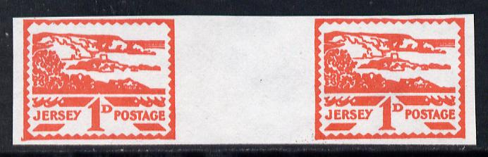 Jersey 1943-44 Occupation 1d scarlet imperf inter-paneau gutter pair as designed by Blampied on ungummed paper and assumed to be a reprint, as SG 4