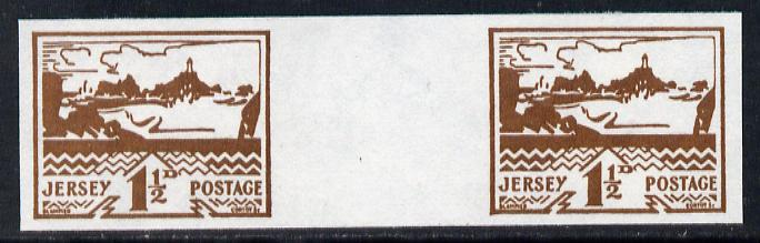 Jersey 1943-44 Occupation 1.5d brown imperf inter-paneau gutter pair as designed by Blampied on ungummed paper and assumed to be a reprint, as SG 5