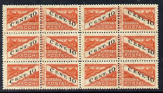 San Marino 1945-46 Parcel Post 10c red-brown & black block of 12 (4x3) being 6 se-tenant pairs unmounted mint SG P310