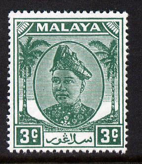 Malaya - Selangor 1949-55 Sultan 3c green unmounted mint SG 92