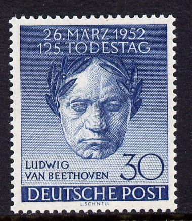 Germany - West Berlin 1952 125th Death Anniversary of Beethoven 30pf unmounted mint, SG B87