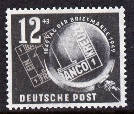 Germany - East 1949 Stamp Day 12pf + 3pf grey-black unmounted mint, SG E4