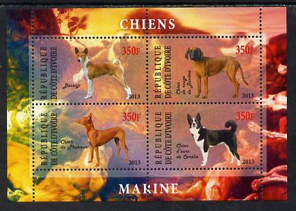 Ivory Coast 2013 Dogs #2 perf sheetlet containing 4 values unmounted mint, stamps on dogs