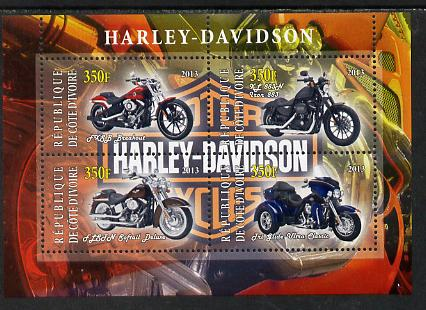 Ivory Coast 2013 Harley Davidson Motorcycles perf sheetlet containing 4 values unmounted mint