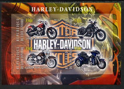 Ivory Coast 2013 Harley Davidson Motorcycles imperf sheetlet containing 4 values unmounted mint