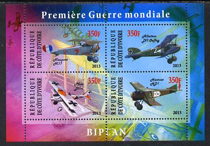 Ivory Coast 2013 Biplanes of World War 1 perf sheetlet containing 4 values unmounted mint