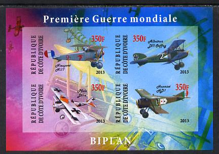 Ivory Coast 2013 Biplanes of World War 1 imperf sheetlet containing 4 values unmounted mint