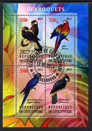 Ivory Coast 2013 Parrots perf sheetlet containing 4 values fine cto used