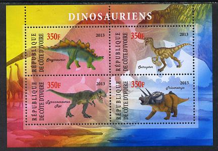 Ivory Coast 2013 Dinosaurs #1 perf sheetlet containing 4 values unmounted mint