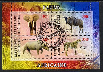Ivory Coast 2013 African Animals #1 perf sheetlet containing 4 values fine cto used