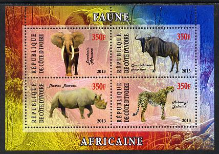 Ivory Coast 2013 African Animals #1 perf sheetlet containing 4 values unmounted mint