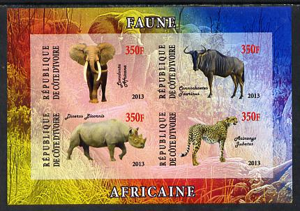 Ivory Coast 2013 African Animals #1 imperf sheetlet containing 4 values unmounted mint