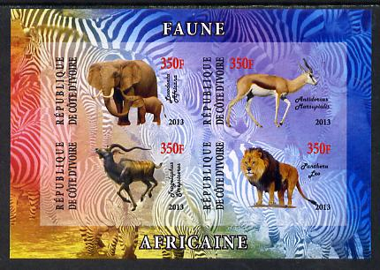 Ivory Coast 2013 African Animals #2 imperf sheetlet containing 4 values unmounted mint