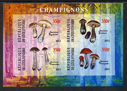 Ivory Coast 2013 Fungi #1 imperf sheetlet containing 4 values unmounted mint
