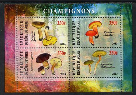 Ivory Coast 2013 Fungi #2 perf sheetlet containing 4 values unmounted mint