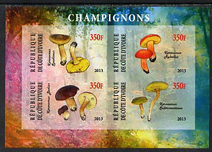 Ivory Coast 2013 Fungi #2 imperf sheetlet containing 4 values unmounted mint