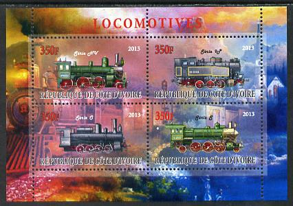 Ivory Coast 2013 Locomotives #1 perf sheetlet containing 4 values unmounted mint