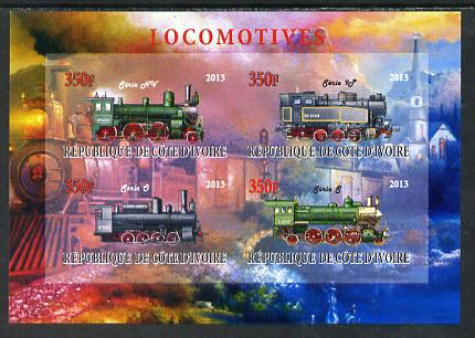 Ivory Coast 2013 Locomotives #1 imperf sheetlet containing 4 values unmounted mint