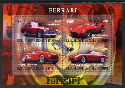 Ivory Coast 2013 Ferrari Cars #1 perf sheetlet containing 4 values unmounted mint