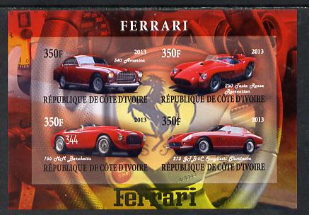 Ivory Coast 2013 Ferrari Cars #1 imperf sheetlet containing 4 values unmounted mint